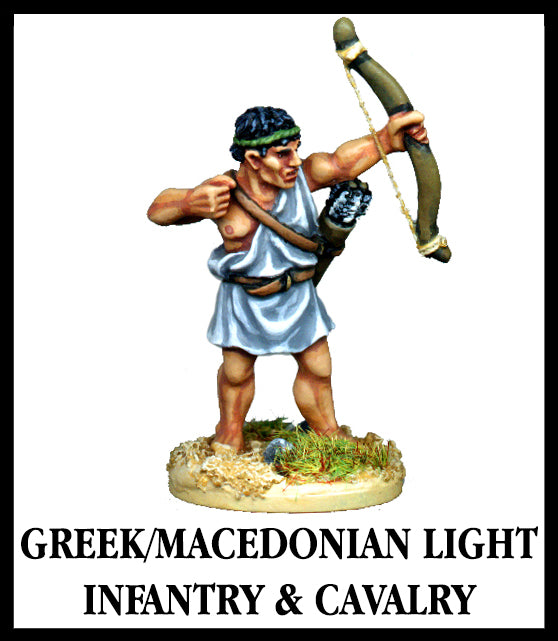 28mm scale lead metal miniature toy soldier from Wargames Foundry World Of The Greeks GREEK/MACEDONIAN LIGHT INFANTRY & CAVALRY bow raised and cloth one shouldered tunic