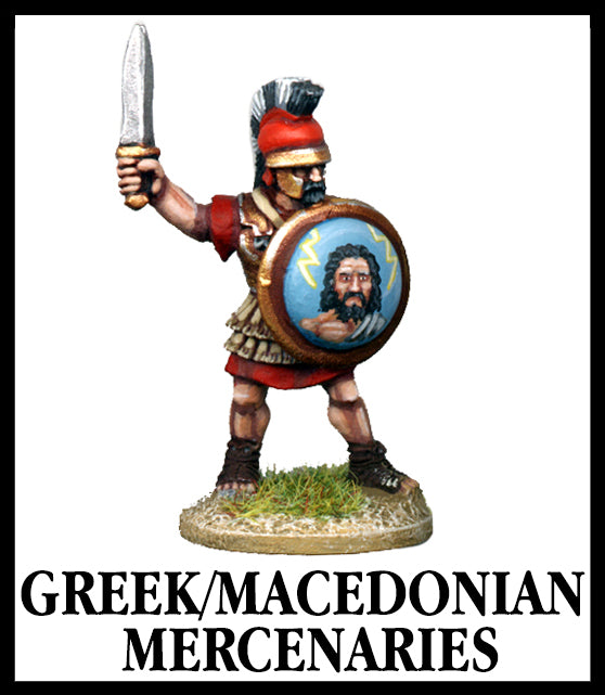 28mm scale lead metal miniature toy soldier from Wargames Foundry World Of The Greeks armoured greek/Macedonian mercenary with raised sword and shield, wearing helmet