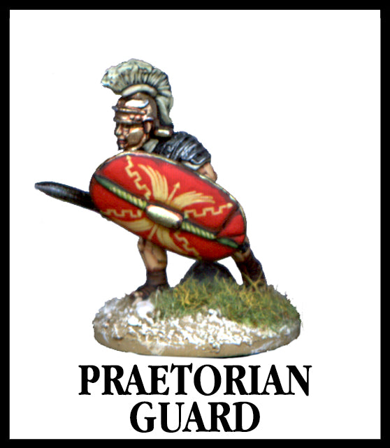 28mm scale lead metal miniature toy soldier from Wargames Foundry Imperial Romans Praetorian Guard lunging forward with decorative helmet, sword and shield