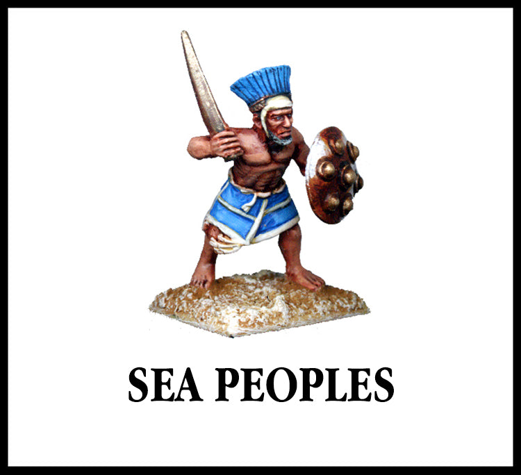 28mm scale lead metal miniature toy soldier from Wargames Foundry Sea People in Crowed Leather Helmets (Peleset, Tjekker, Denven) with sword and shield