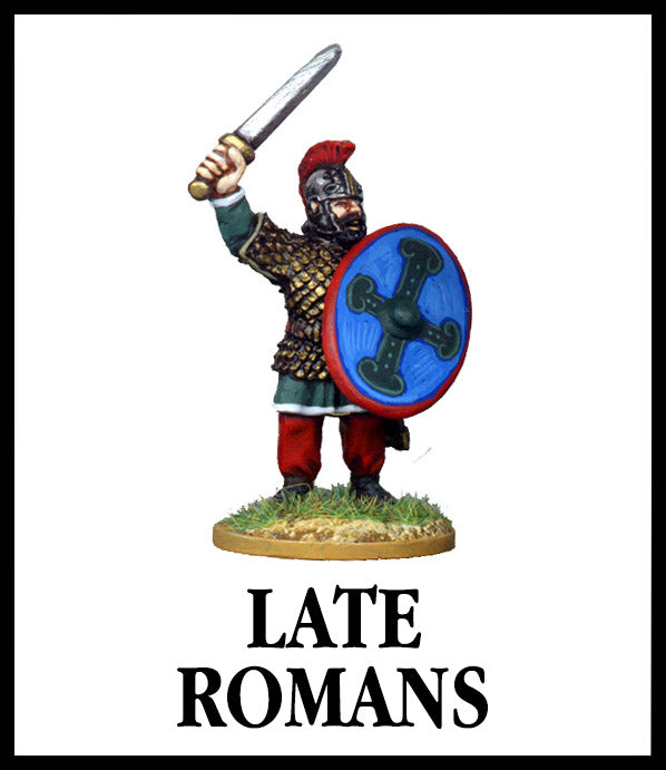 28mm scale lead metal miniature toy soldier from Wargames Foundry late roman command figure in traditional dress with chainmail armour, helmet, raised sword and large shield