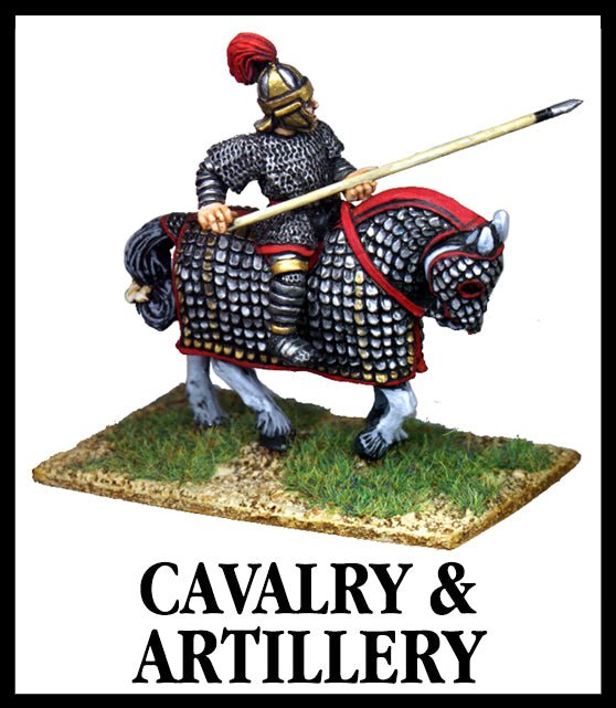 28mm scale lead metal miniature toy soldier from Wargames Foundry Late Imperial Roman Cavalry and Infantry armoured soldier on armoured horse with large spear
