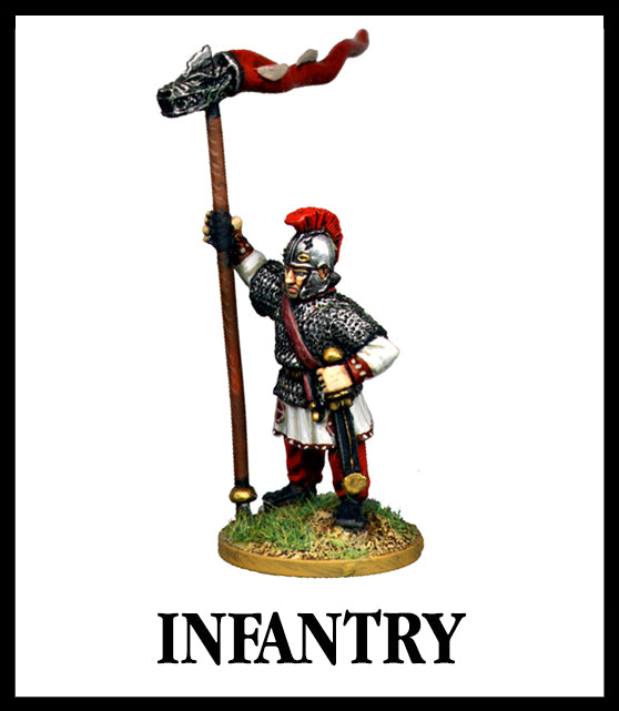 28mm scale lead metal miniature toy soldier from Wargames Foundry Late Imperial Roman Infantry command holding standard with armour and helmet