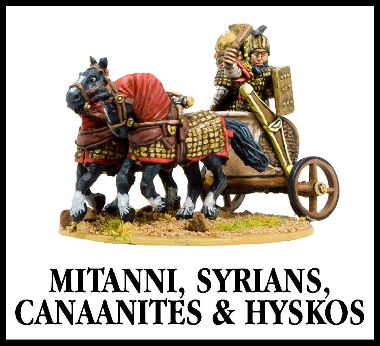28mm scale lead metal miniature toy soldier from Wargames Foundry mitanni, syrians, canaanites and hyskos, horse pulled chariot with armoured riders firing bows in the back