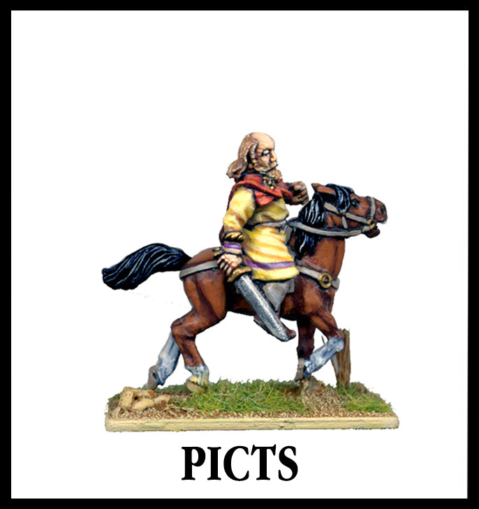 28mm scale lead metal miniature toy soldier from Wargames Foundry Ancient Pict rider with sword on horse wearing tunic