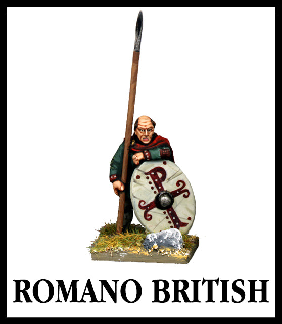 28mm scale lead metal miniature toy soldier from Wargames Foundry Late Imperial Romano British with spear, cloak and shield