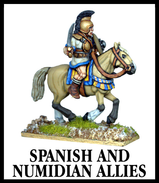 28mm scale lead metal miniature toy soldier from Wargames Foundry Caesarian Romans Spanish and Numidian Allies mounted on horse with sword and decorative helmet