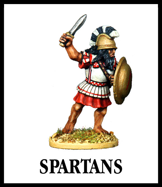 28mm scale lead metal miniature toy soldier from Wargames Foundry World Of The Greeks armoured spartan with helmet shield and sword