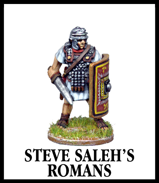 28mm scale lead metal miniature toy soldier from Wargames Foundry Imperial Romans sculpted by Steve Saleh's  example model is infantry figure with spear helmet and shield