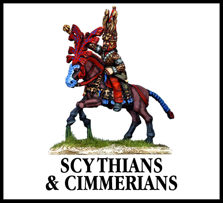 28mm scale lead metal miniature toy soldier from Wargames Foundry Biblical era Scythian mounted command with highly decorated armour on warrior and horse