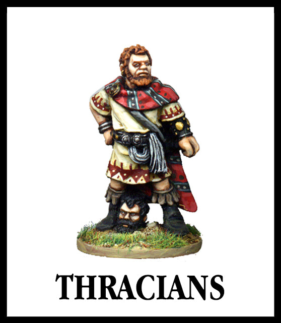 28mm scale lead metal miniature toy soldier from Wargames Foundry World Of The Greeks Thracian in traditional dress with cloak and severed head at feet