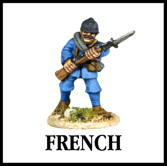 28mm scale lead metal miniature toy soldier from Wargames Foundry WW1 The Great War French infantry in helemt attacking