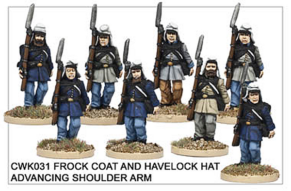 CWK031 Infantry in Havelock and Frock Coat Marching