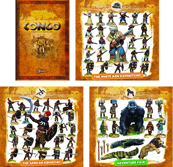 CONGO BUNDLE 1 - The White Men Expeditions, The African Kingdoms, the Adventure Pack and the Rulebook (10% off and free shipping)