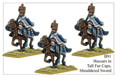 B091 Hussars in Tall Fur Caps Shouldered Sword