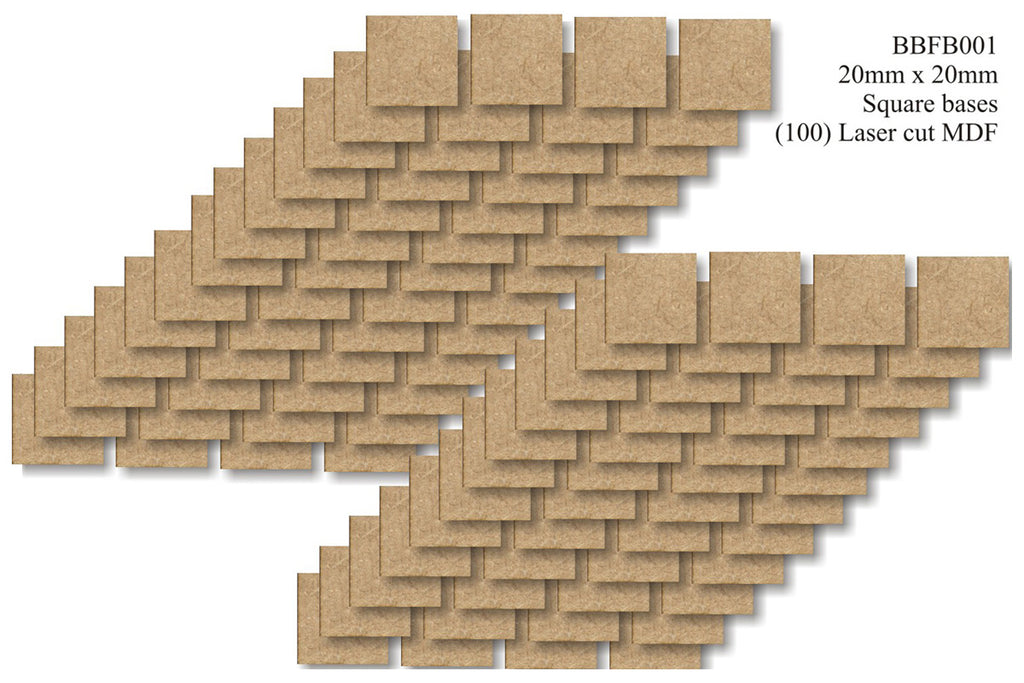BBFB001 - 20mm x 20mm Square Bumper Bundle (100 bases)