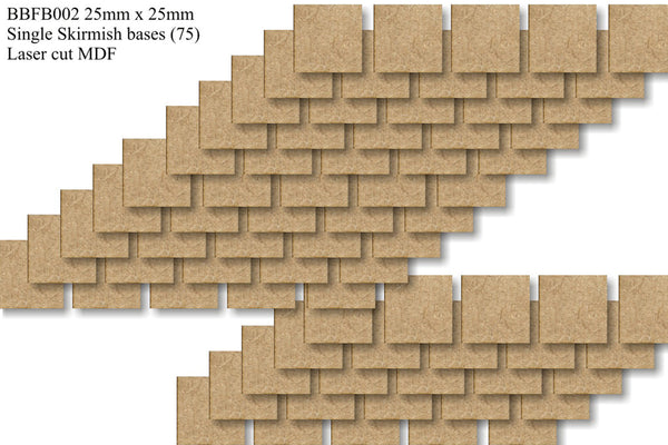 BBFB002 - 25mm x 25mm Square Bumper Bundle (75 bases)