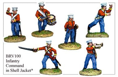 BRV100 British Infantry in Shell Jackets & Peaked Forage Caps Command