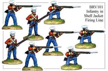 BRV101 British Infantry in Shell Jackets & Peaked Forage Caps Firing