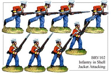 BRV102 British Infantry in Shell Jackets & Peaked Forage Caps Attacking
