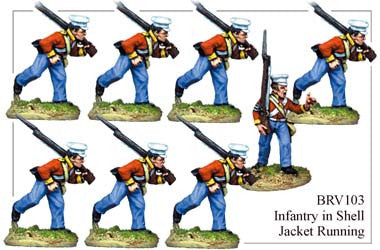 BRV103 British Infantry in Shell Jackets & Peaked Forage Caps Running