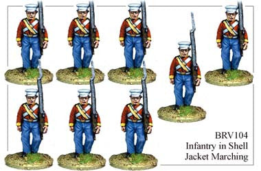 BRV104 British Infantry in Shell Jackets & Peaked Forage Caps Marching