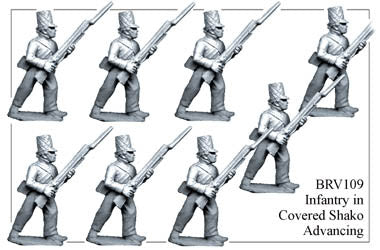 BRV109 British Infantry in Shell Jackets & Covered Shakos Adavncing
