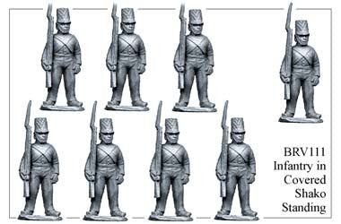 BRV111 British Infantry in Shell Jackets & Covered Shakos Standing