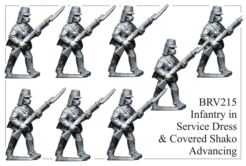 BRV215 British Infantry in Service Dress and Covered Shako Advancing