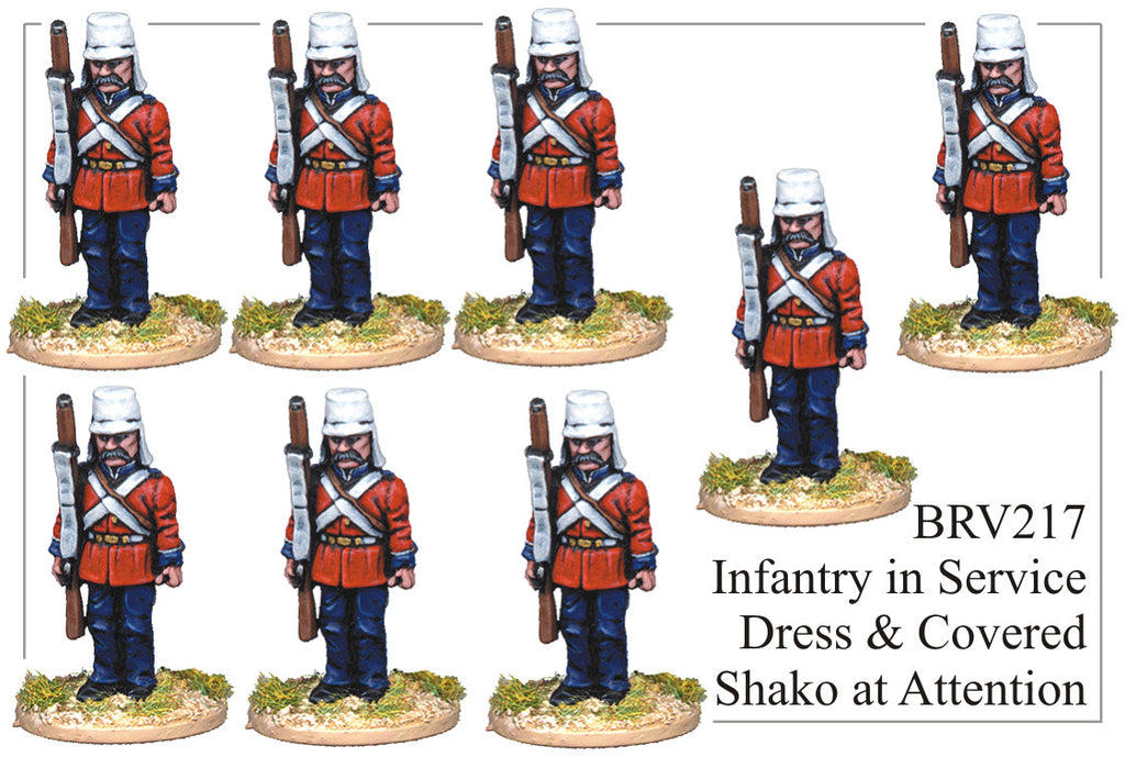 BRV217 British Infantry in Service Dress and Covered Shako at Attention