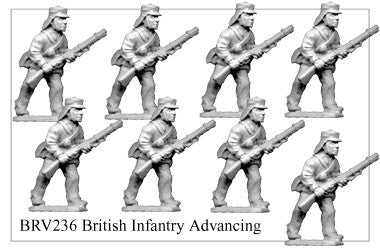 BRV236 British Infantry in Flannel Shirt Advancing