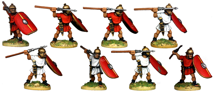 CR032 - Unarmoured Legionaries Throwing Pilum, No Crest