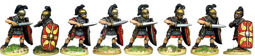 CR045 - Armoured Legionaries Attacking with Gladius, Horsehair Crest