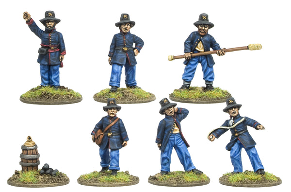 CWA004 Artillery Crew in Hardee Hat and Frock Coat Firing Gun