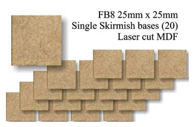 FB008 - 25mm x 25mm Square MDF (20 bases)