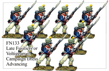 FN133 - Late Fusiliers Or Voltiguers In Campaign Dress Assorted Headgear Marching