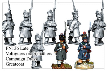 FN136 - Late Fusiliers Or Voltiguers In Greatcoats Assorted Headgear Marching