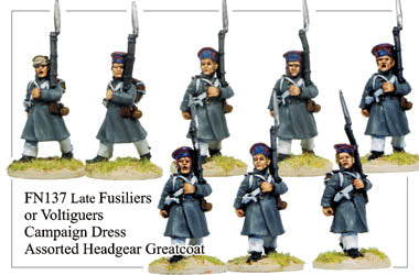FN137 - Late Fusiliers Or Voltiguers In Greatcoats And Assorted Headgear Marching