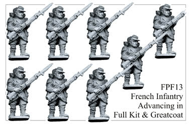 FPF013 French Infantry in Full Kit and Greatcoats Advancing