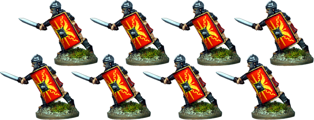 IR056 - Legionaries, Segmented Armour, Armoured Forearm, Thrusting Low with Gladius