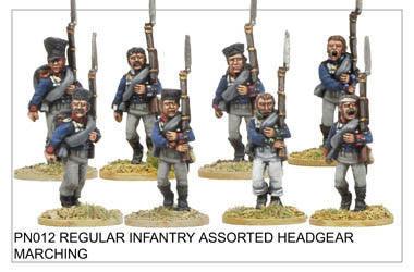 PN012 Infantry in Assorted Headgear Marching