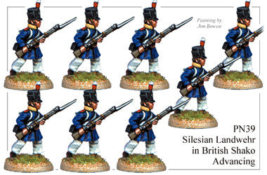 PN039 Silesian Landwehr in British Shako Advancing