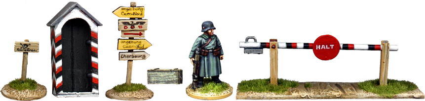 WW2G009 - German Sentry Box and Road Signs