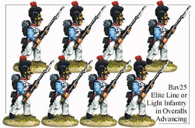 BAV025 Elite Line or Light Infantry in Overalls Advancing