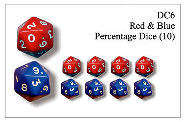 DC006 - Red And Blue Percentage Dice
