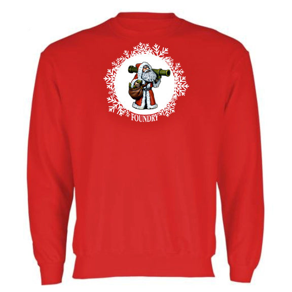 Embroidered Santa Bazooka Sweatshirt - Red