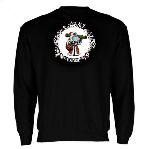 Embroidered Santa Bazooka Sweatshirt - Black