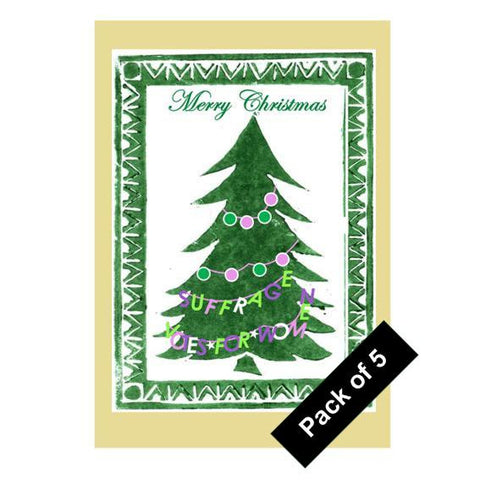 Suffragette Tree - 5 pack Christmas cards