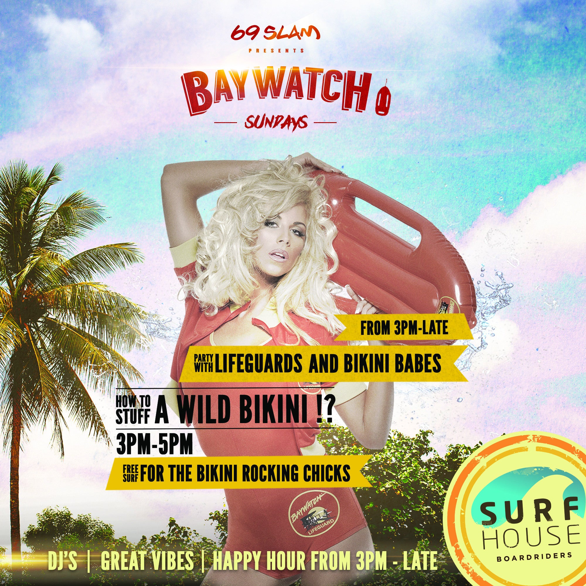 BAYWATCH SUNDAYS - FREE SURF FOR LADIES 3:00-5:00 PM