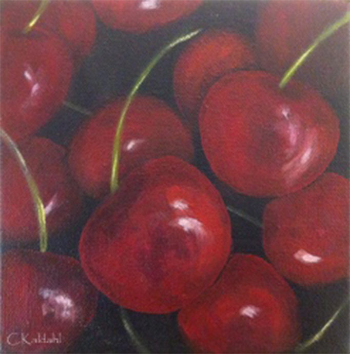Cherries, acrylic painting by artist Cheryl Kaldahl